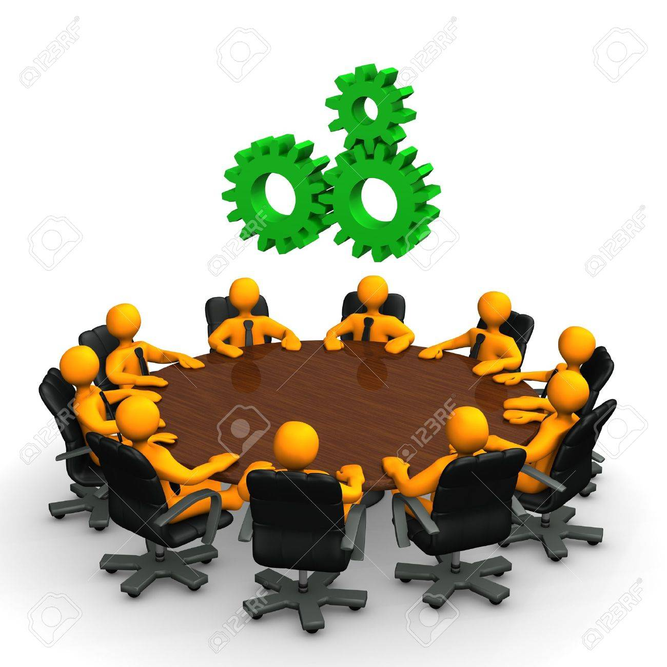 Round table meeting icon - Round Table Meeting Orange Cartoon Characters With Green Gear Wheels On The Round Table