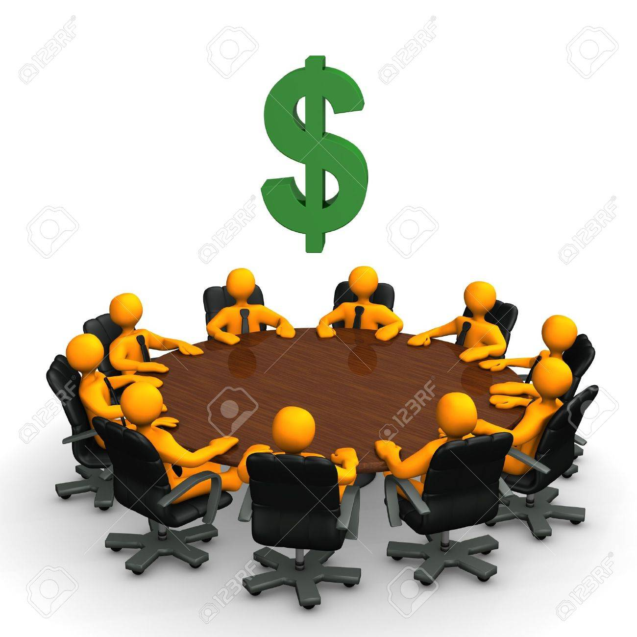 Orange toon characters with dollar currency symbol on the round table. Stock Photo - 12507786