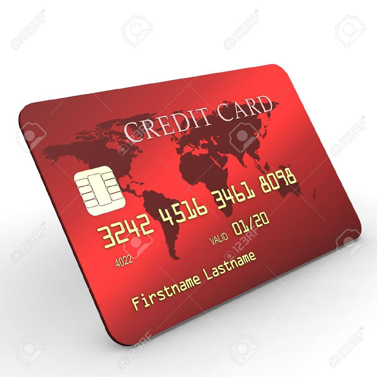 Red credit card with golden text on white background Stock Photo - 13019346