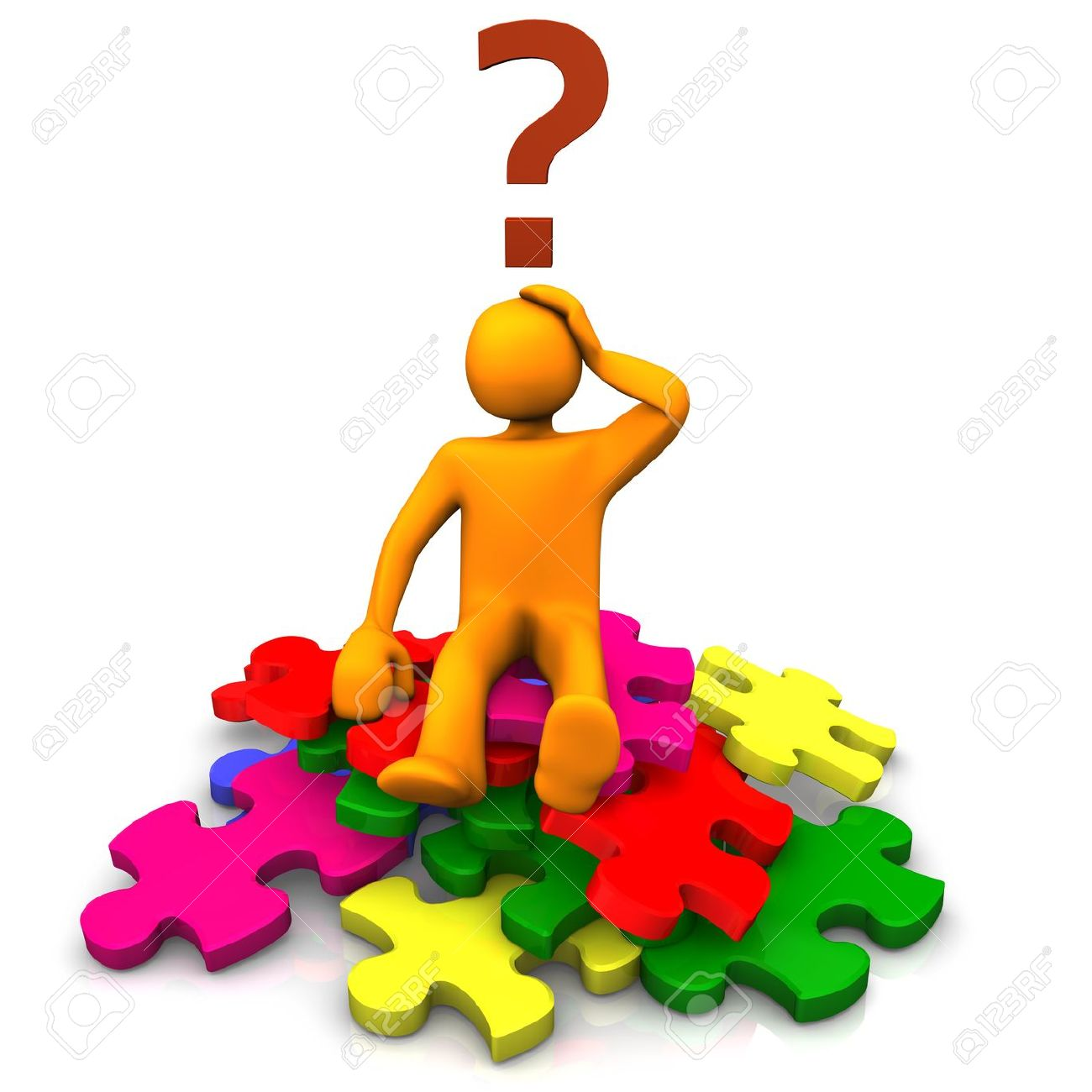 Orange cartoon on the multicolored puzzles an big question mark - 13739021