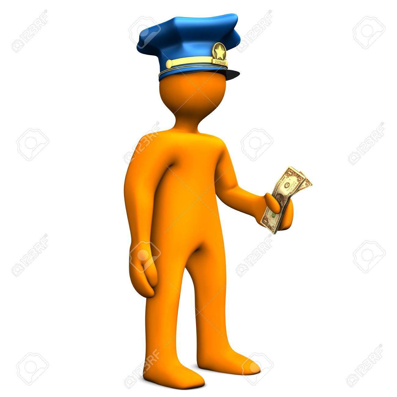 Banque d images - Dessin animé orange avec bonnet de police et de l argent  dans la main dbce5b0cd9a