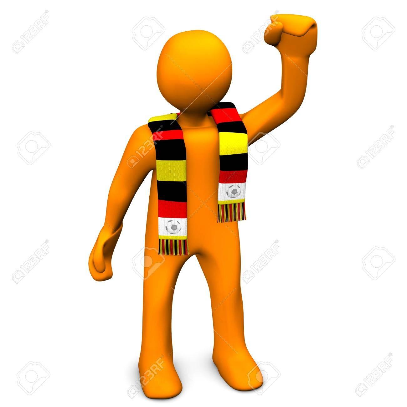 personaje de dibujos animados de naranja con una bufanda con los colores rojo amarillo y