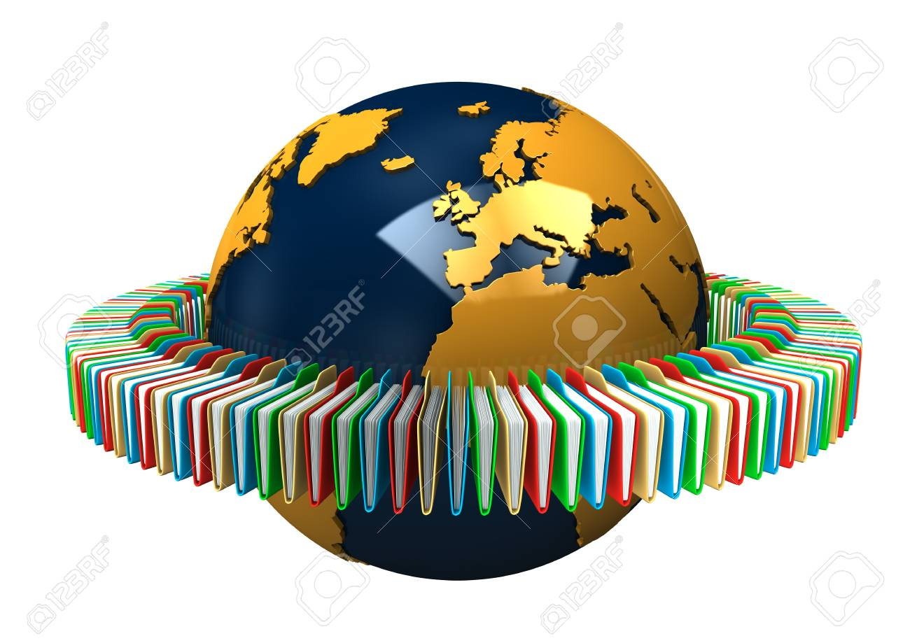 Globe with colored folders on the white background Stock Photo - 15234445