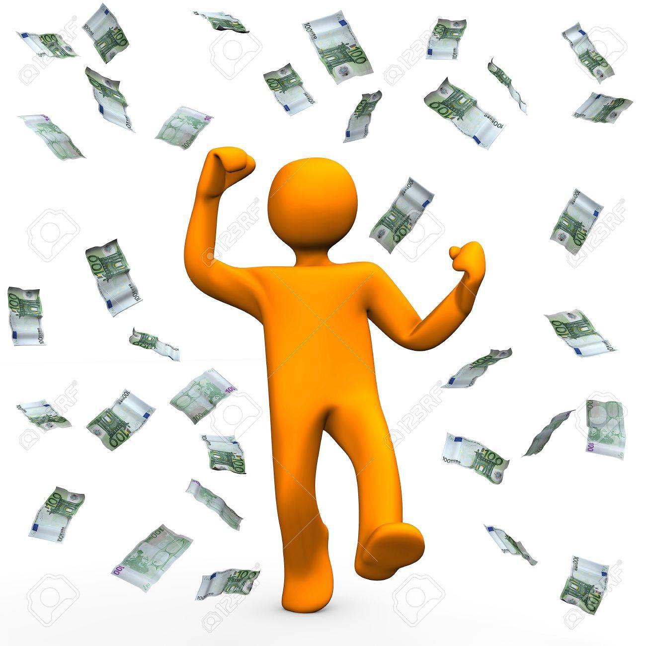 orange cartoon character has win money and is happy stock photo