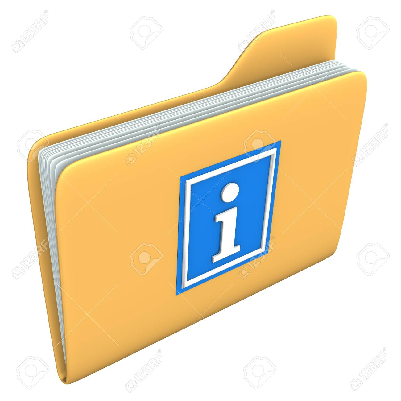 Yellow folder with blue information symbol on the white backround Stock Photo - 15234443