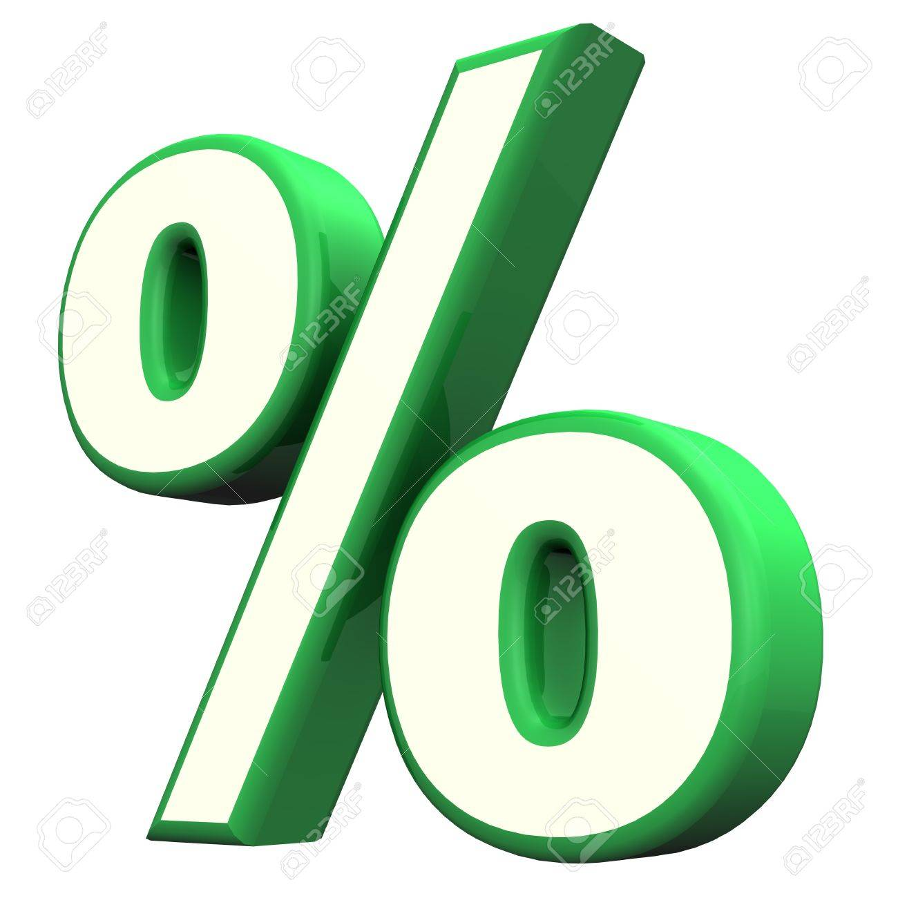 Green Per Cent Symbol On The White Background Stock Photo Picture