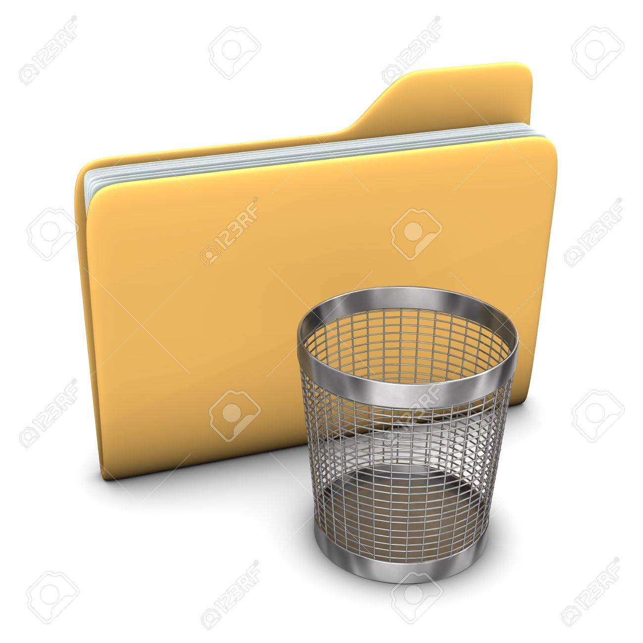 A big folder with a steel wastebasket on the white background. Stock Photo - 15389581