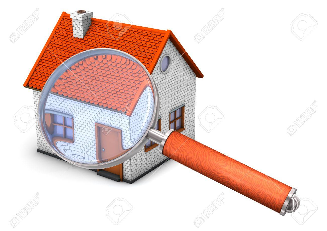 House with big loupe on the white background. Stock Photo - 15538180