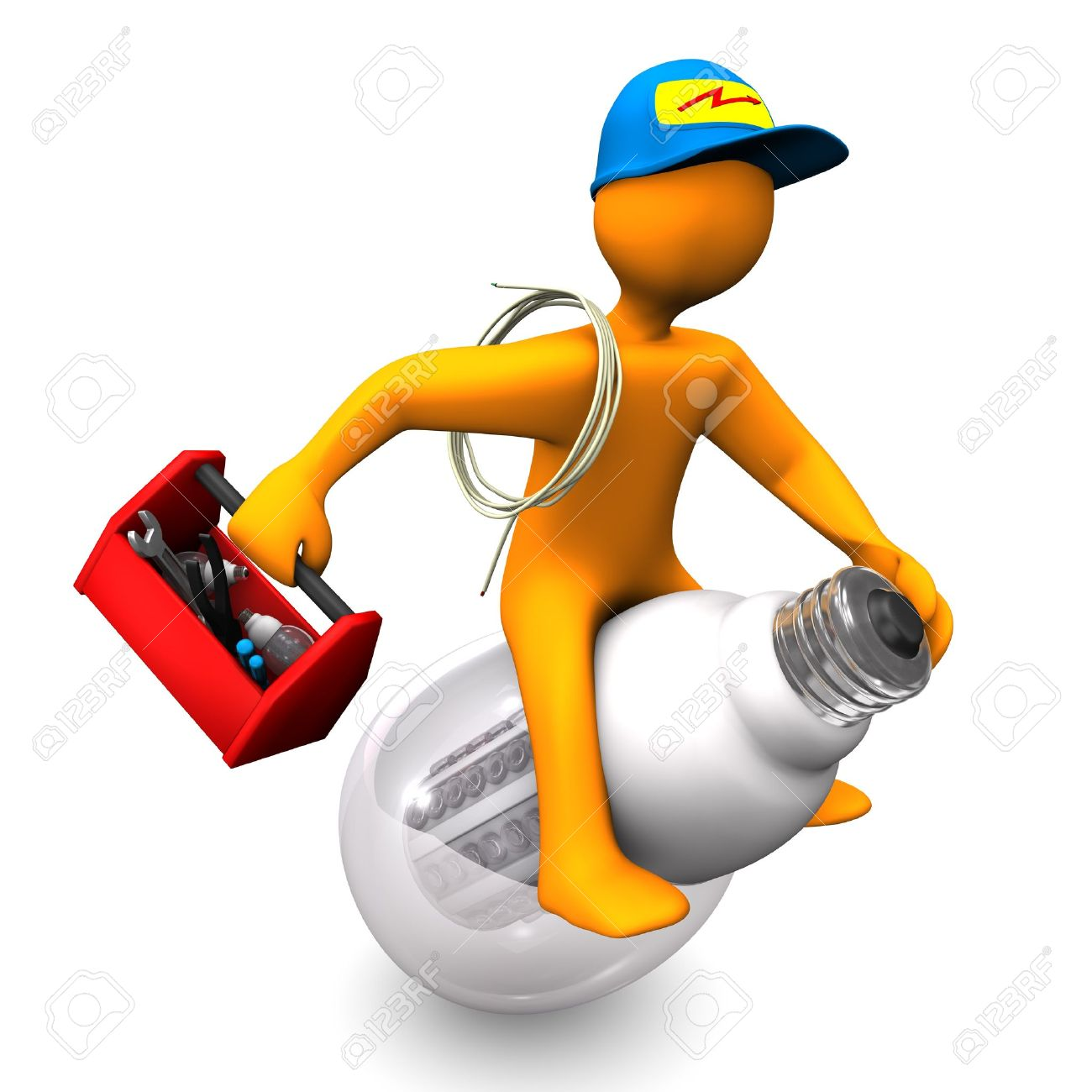 Orange cartoon character as electrician, rides on the LED-Lamp  White background Stock Photo - 15800954