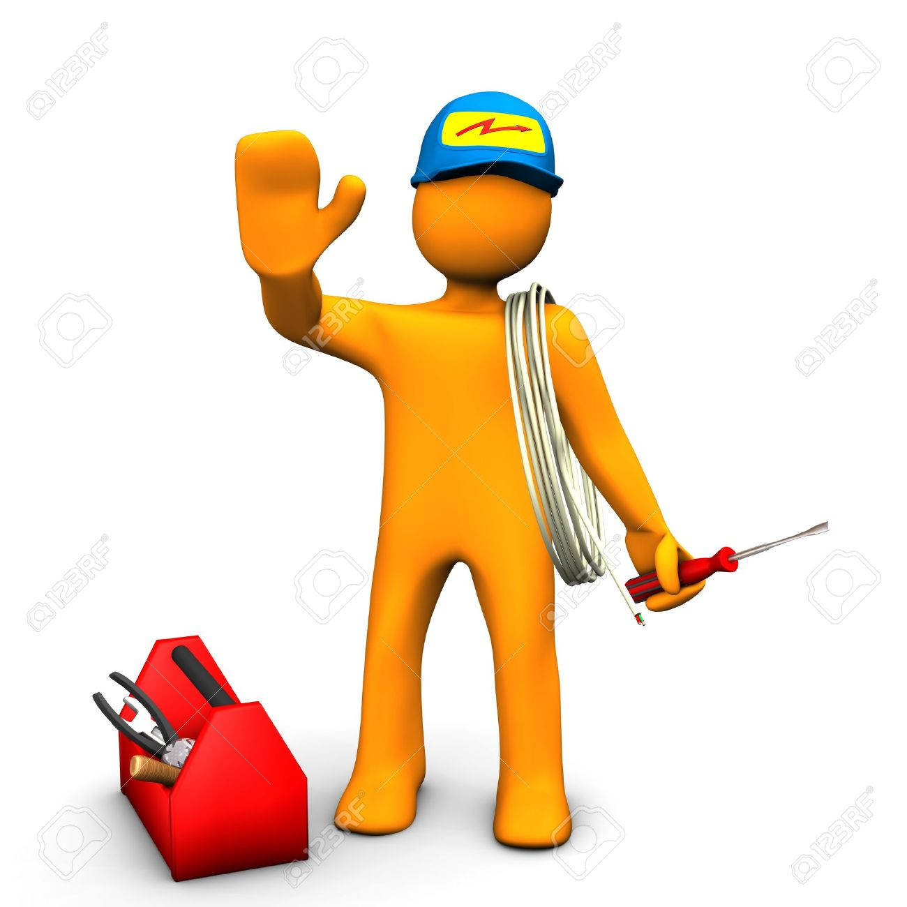 Orange Cartoon Character As Electrician With Toolbox And Cable ...