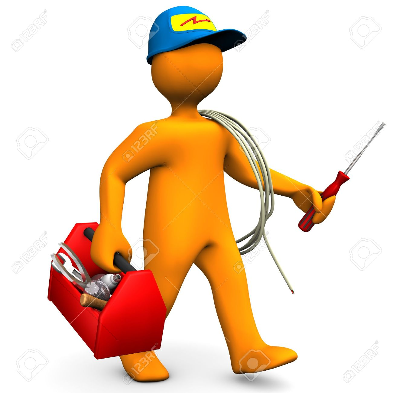 orange cartoon character as electrician with toolbox and cable