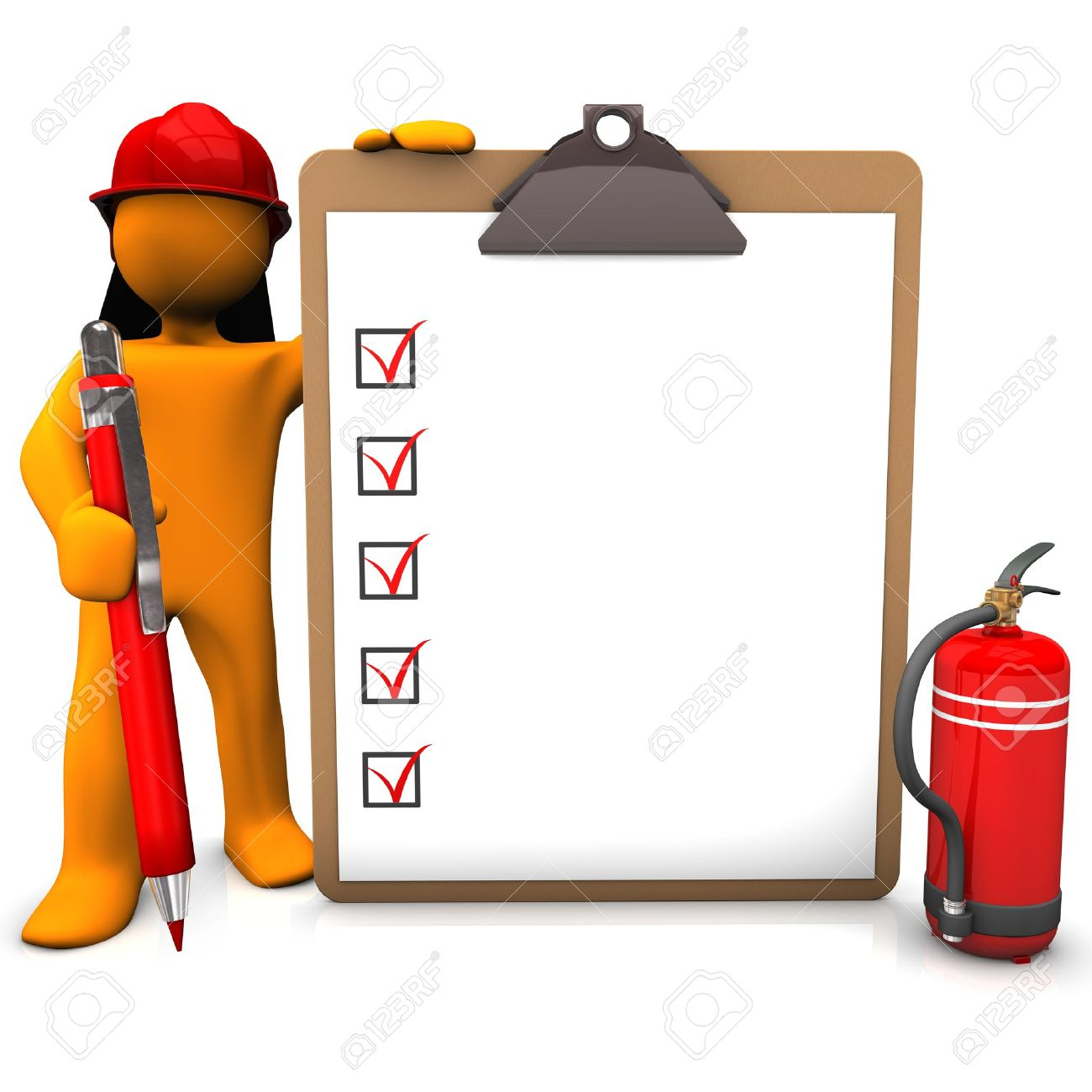 Orange cartoon character as fireman with red pen and clipboard
