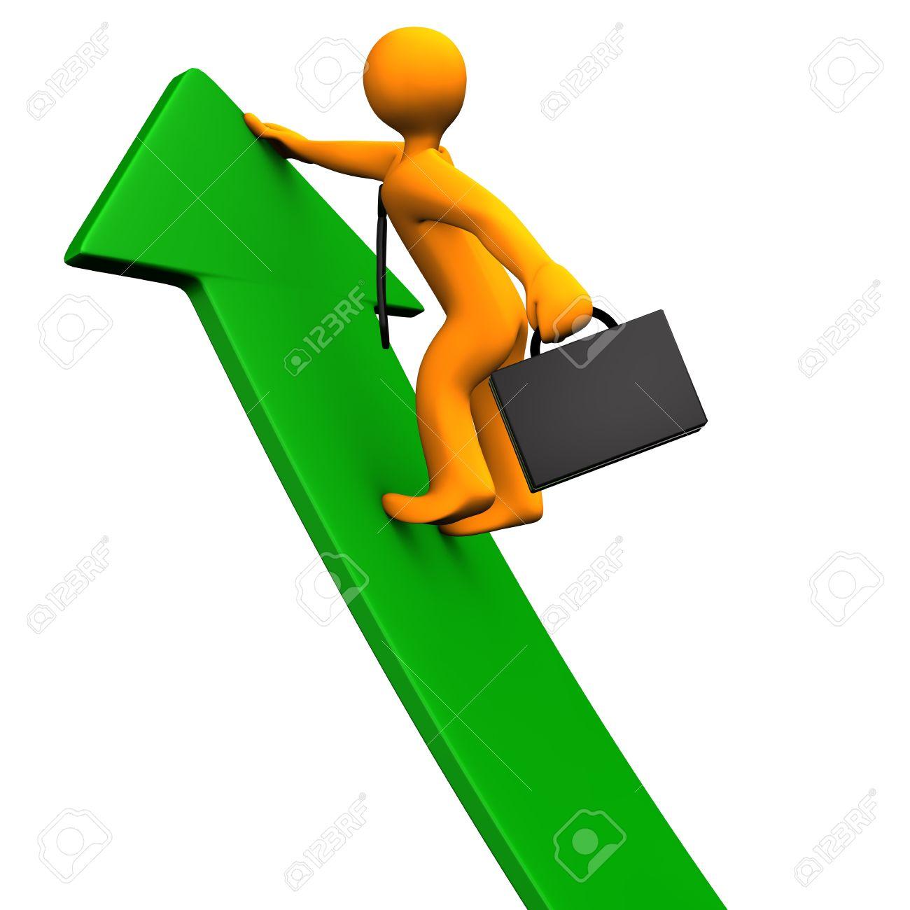 Orange cartoon character climbs on the green arrow. White background. Stock Photo - 15933782