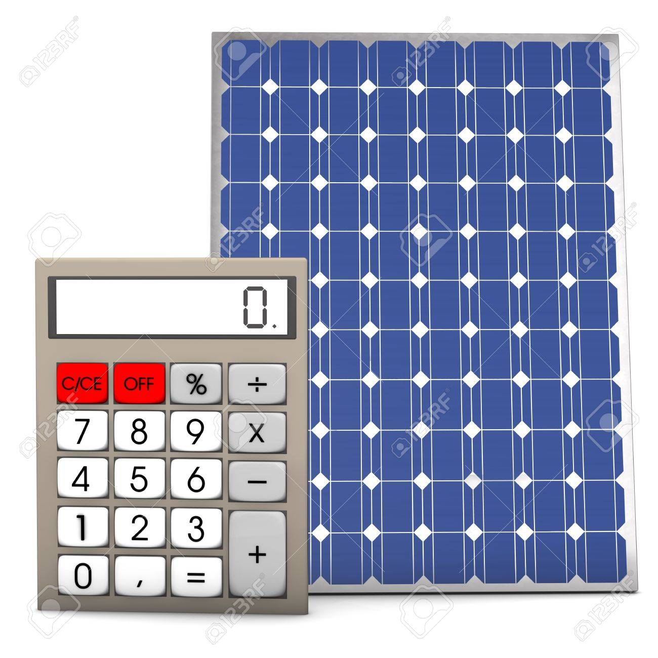 Calculator with solar panel on the white background
