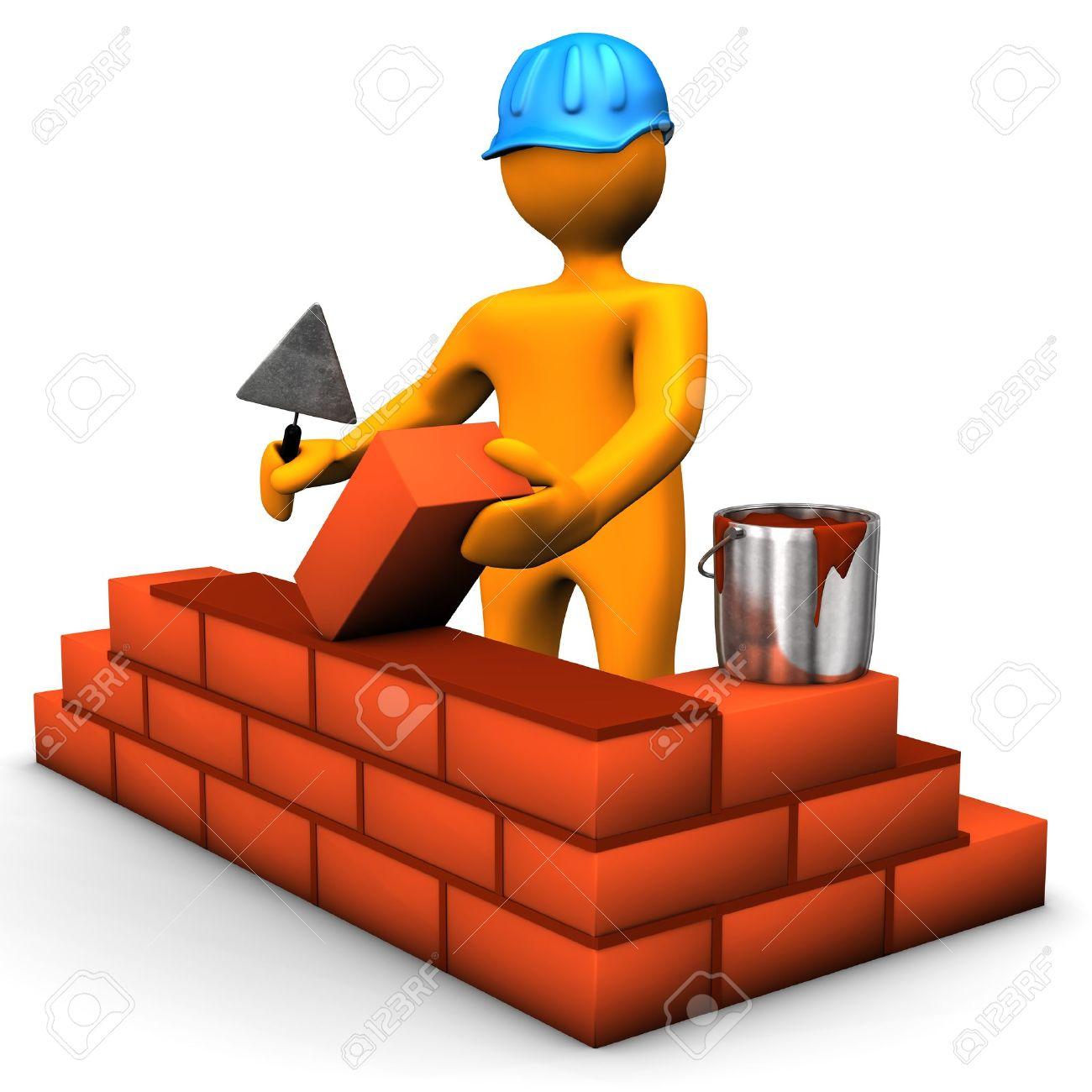 Building worker with blue helmet and brown bricks. White background. Stock Photo - 16614790