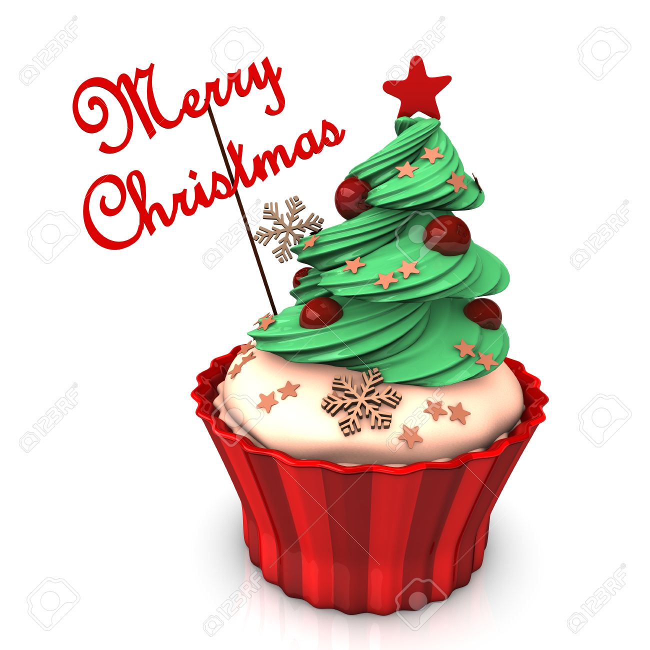 A Christmas Cupcake With Green Tree And The Text Merry Christmas ...