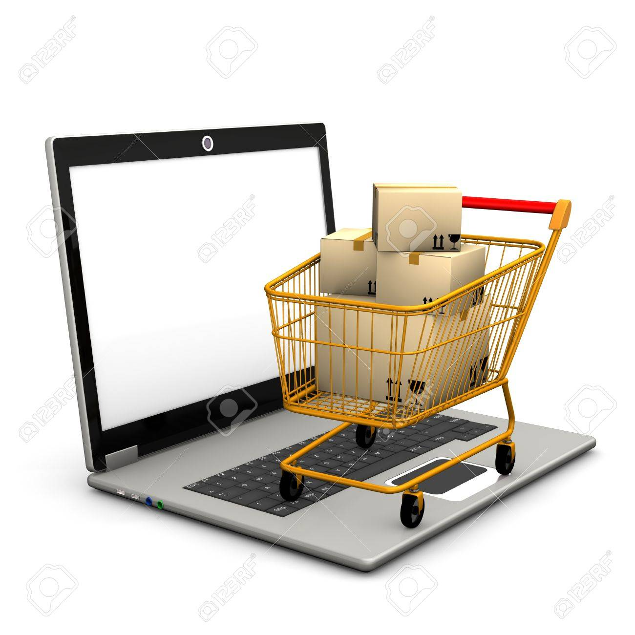 Laptop with shopping cart and shipping cartons Stock Photo - 17259464