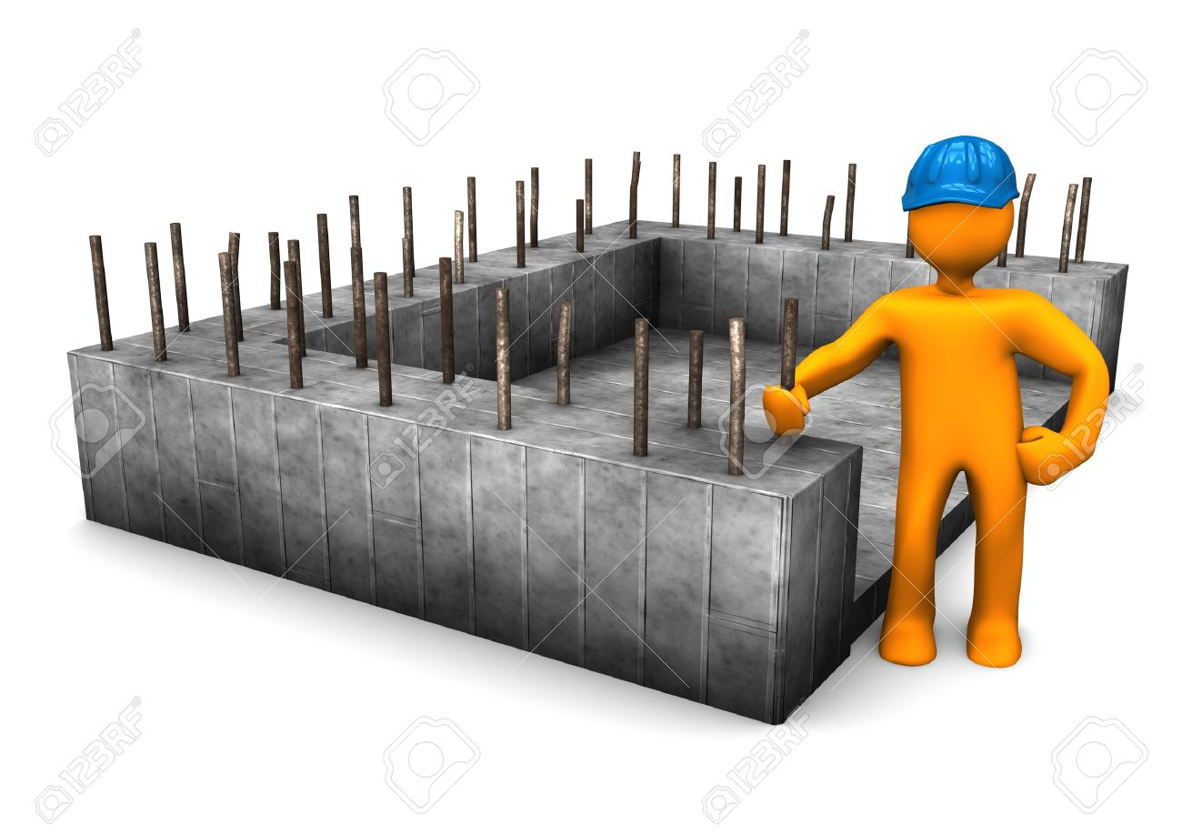 Civil engineer with the foundation of house. Stock Photo - 17460614