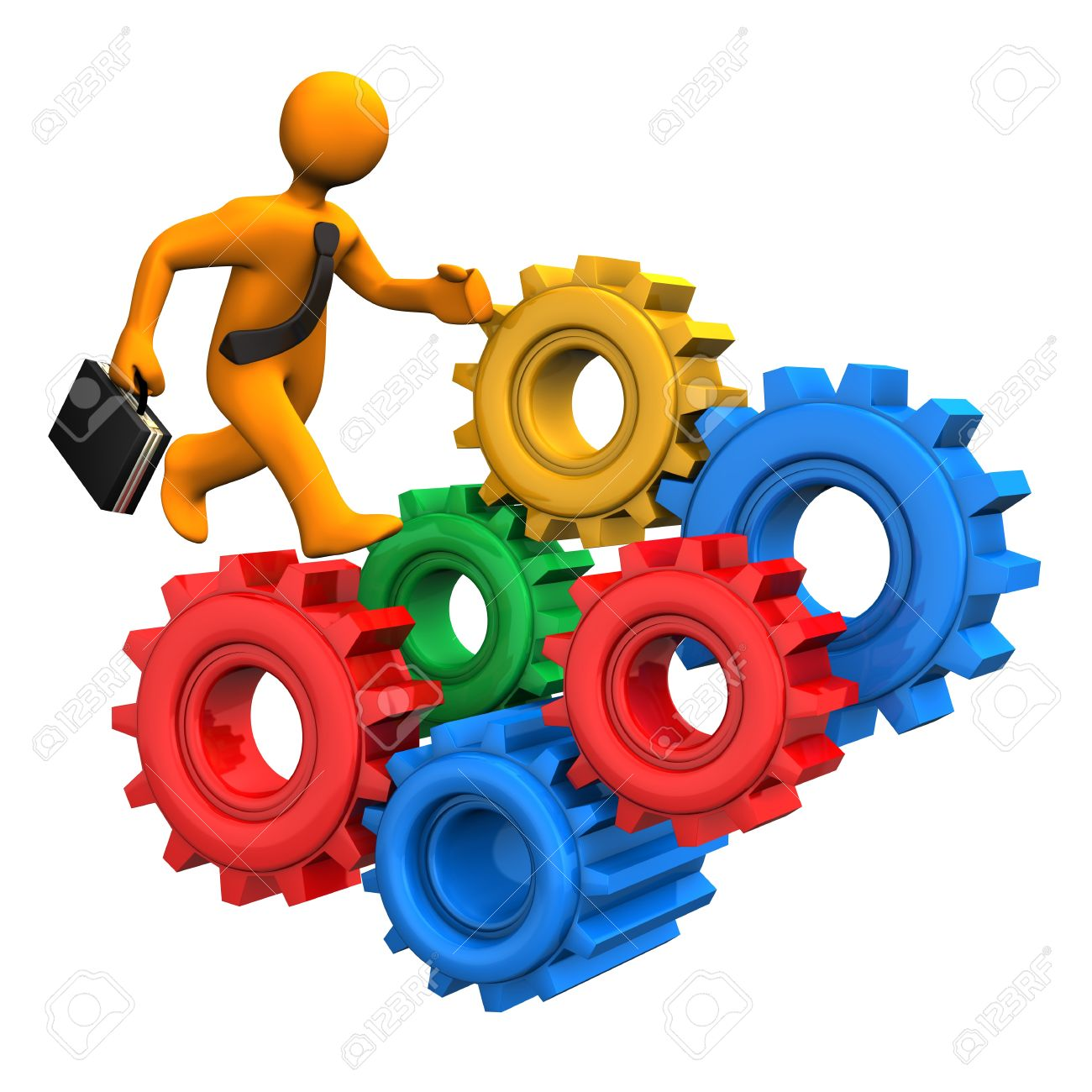 Orange cartoon character runs at the colorful gears. Stock Photo - 17460608