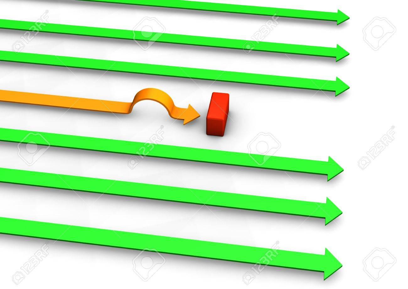 Orange arrow has a wrong way. White background. Stock Photo - 17460604