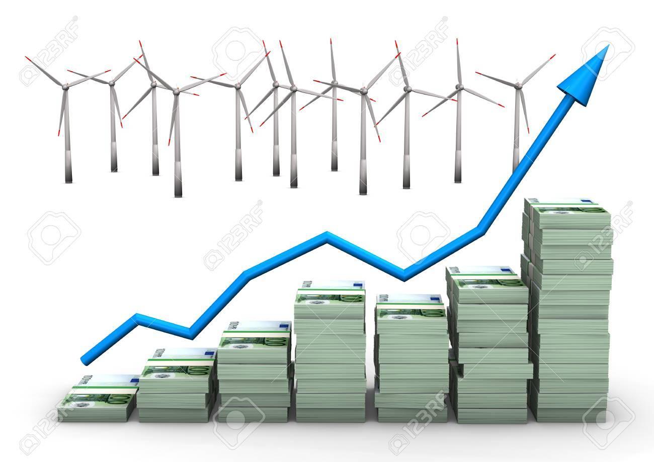Money Chart With Wind Turbines White Background Stock Photo Power Turbine Diagram 17726570