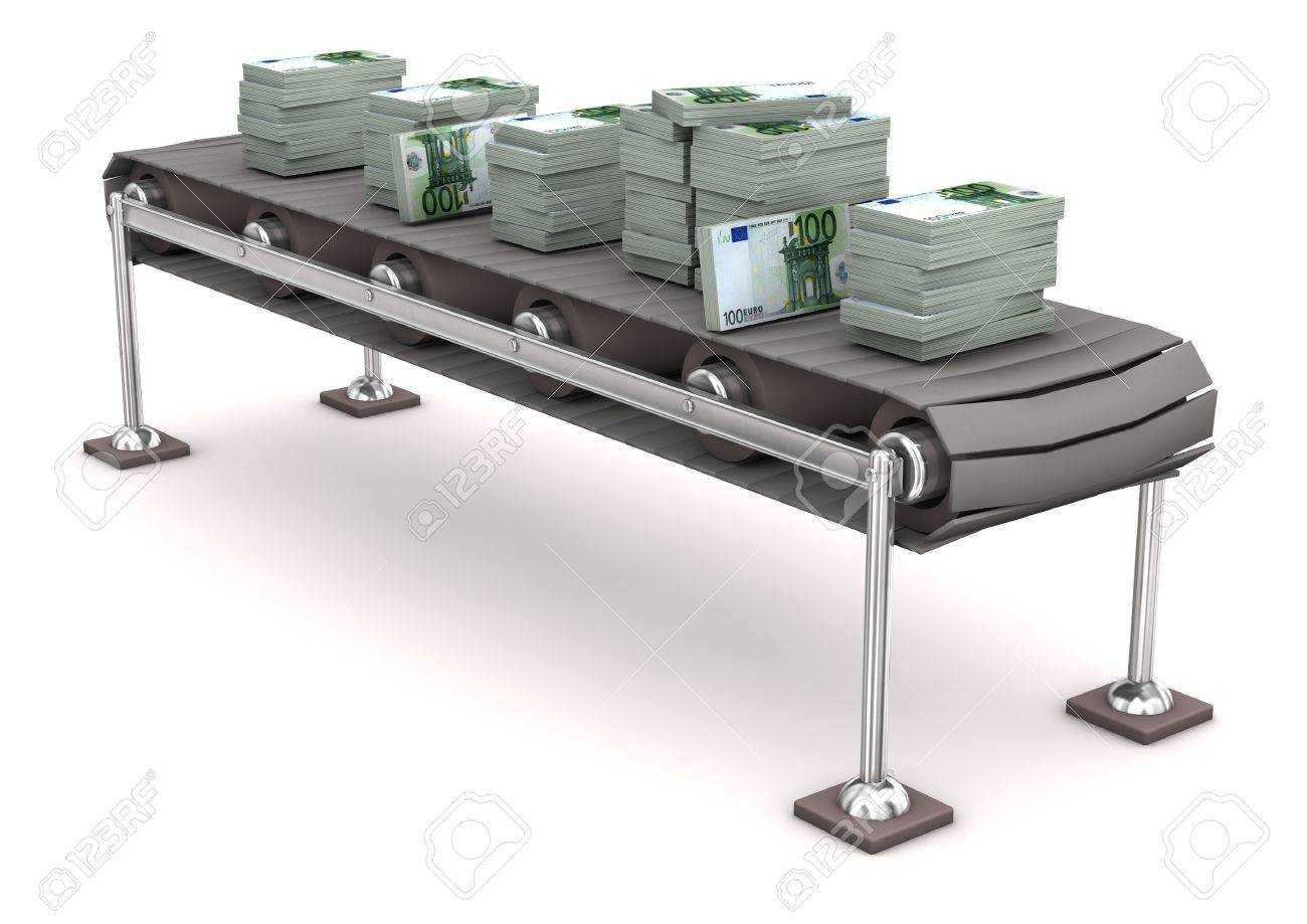 Assembly line with 100 notes of european currency. Stock Photo - 17726554