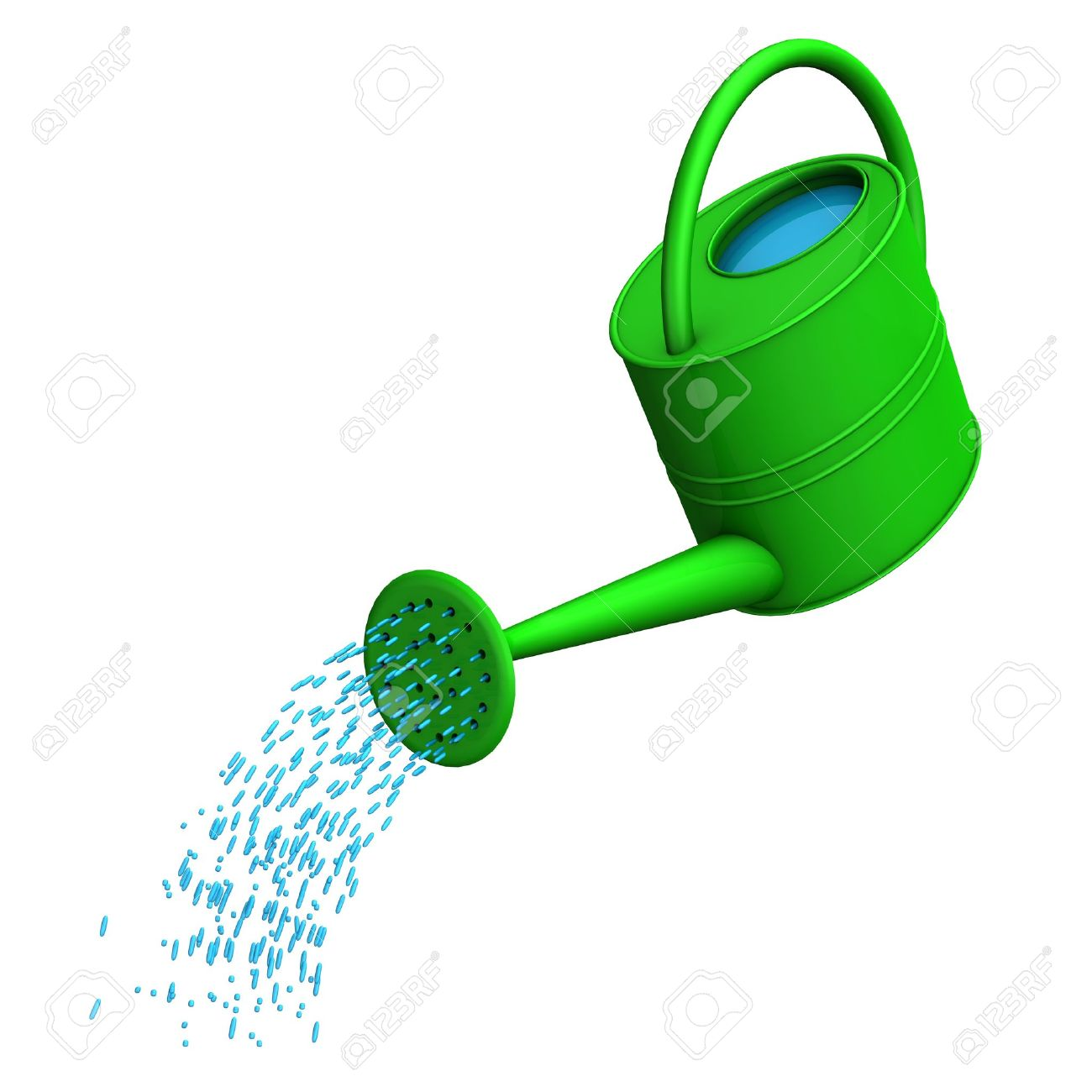 green watering can on the white background stock photo 17726519