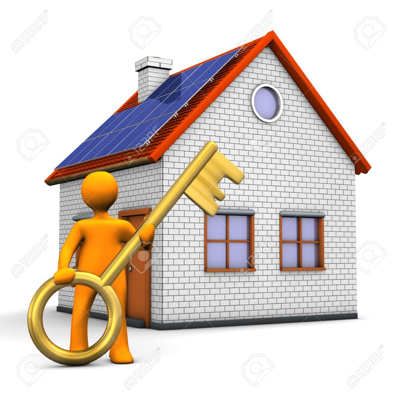 personaje de dibujos animados con la casa de orange y la llave de ... - Bienes Inmuebles Dibujos