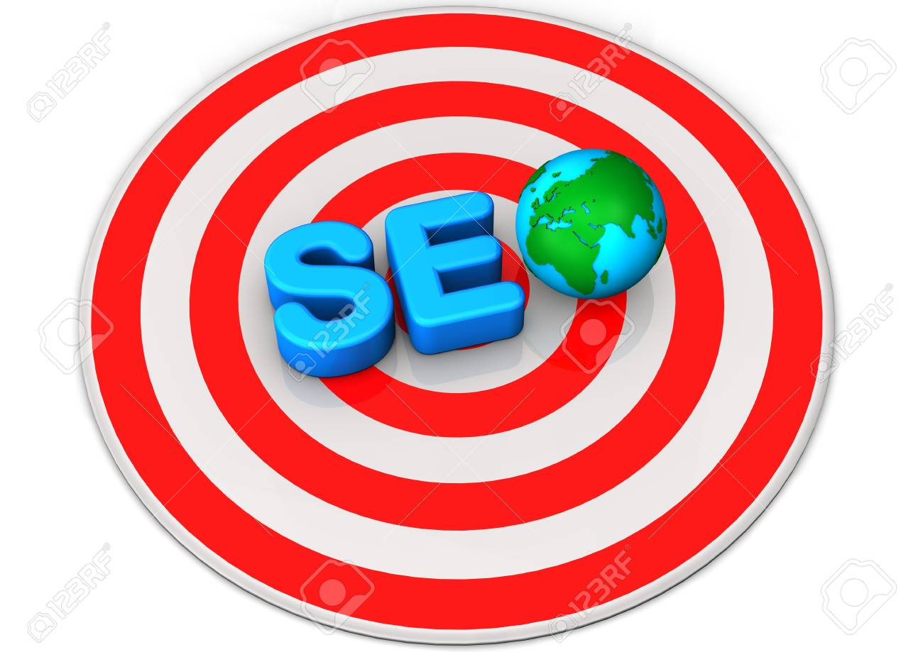 Text SEO with globe on the red target Stock Photo - 17726478