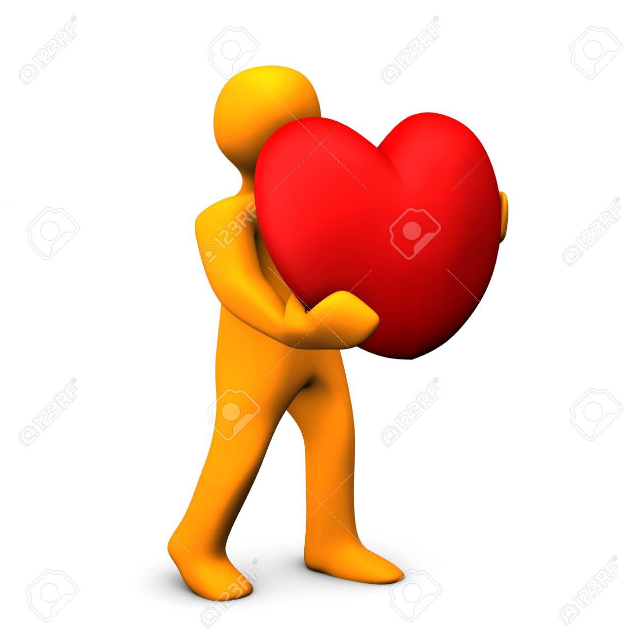 Personnage De Dessin Animé Orange Avec Coeur Rouge