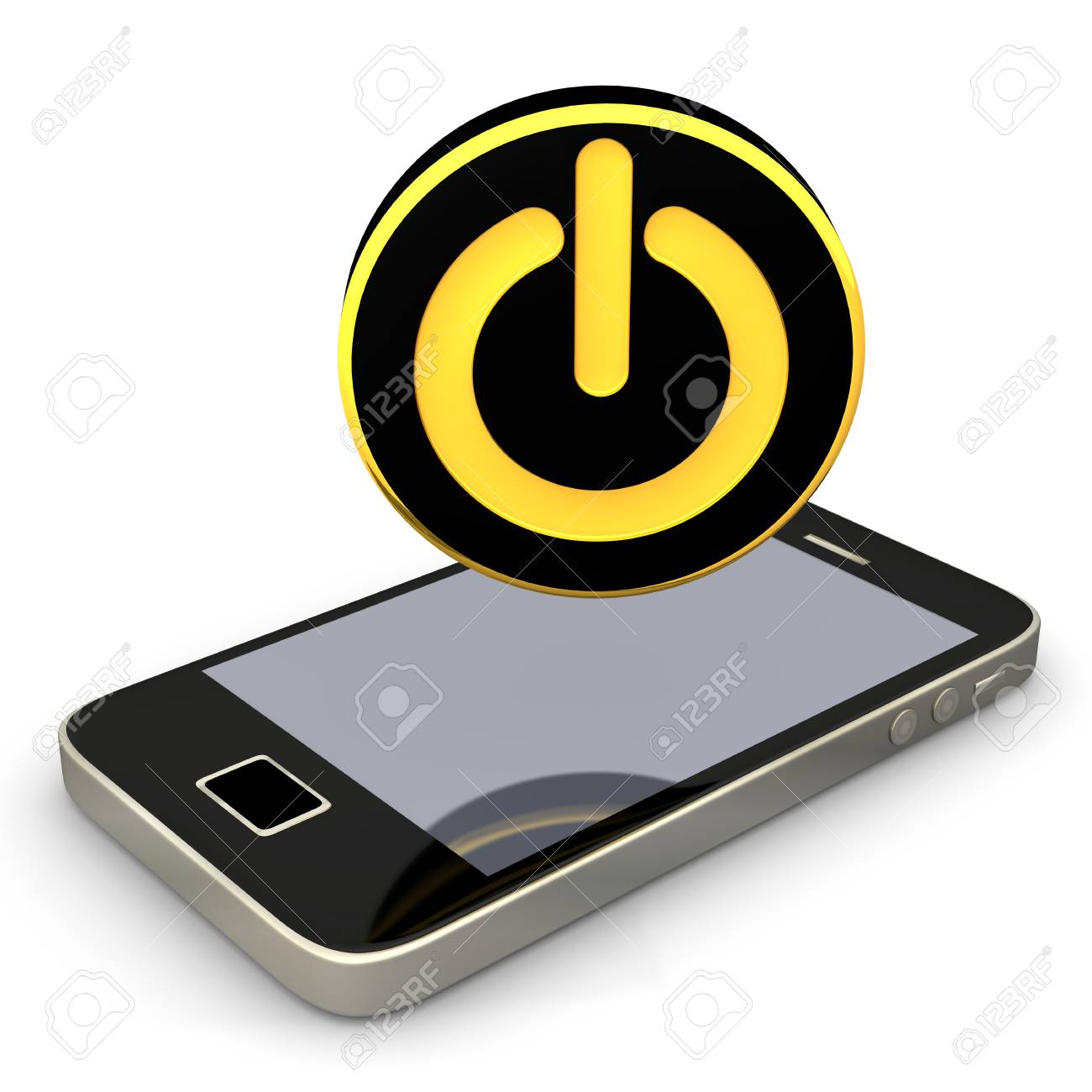 Smartphone with black golden start button Stock Photo - 17972023