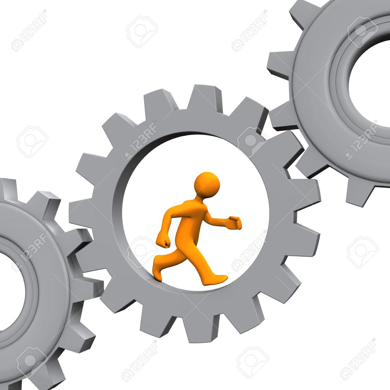 Orange cartoon character runs in the grey gear. White background. Stock Photo - 18370204