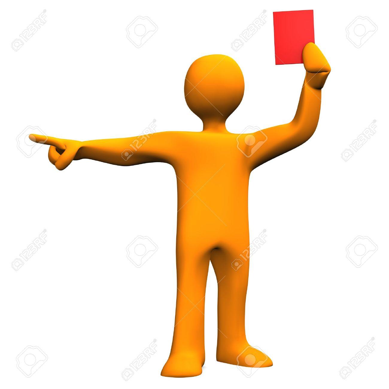 Personnage De Dessin Animé Orange Comme Arbitre Avec La Carte Rouge
