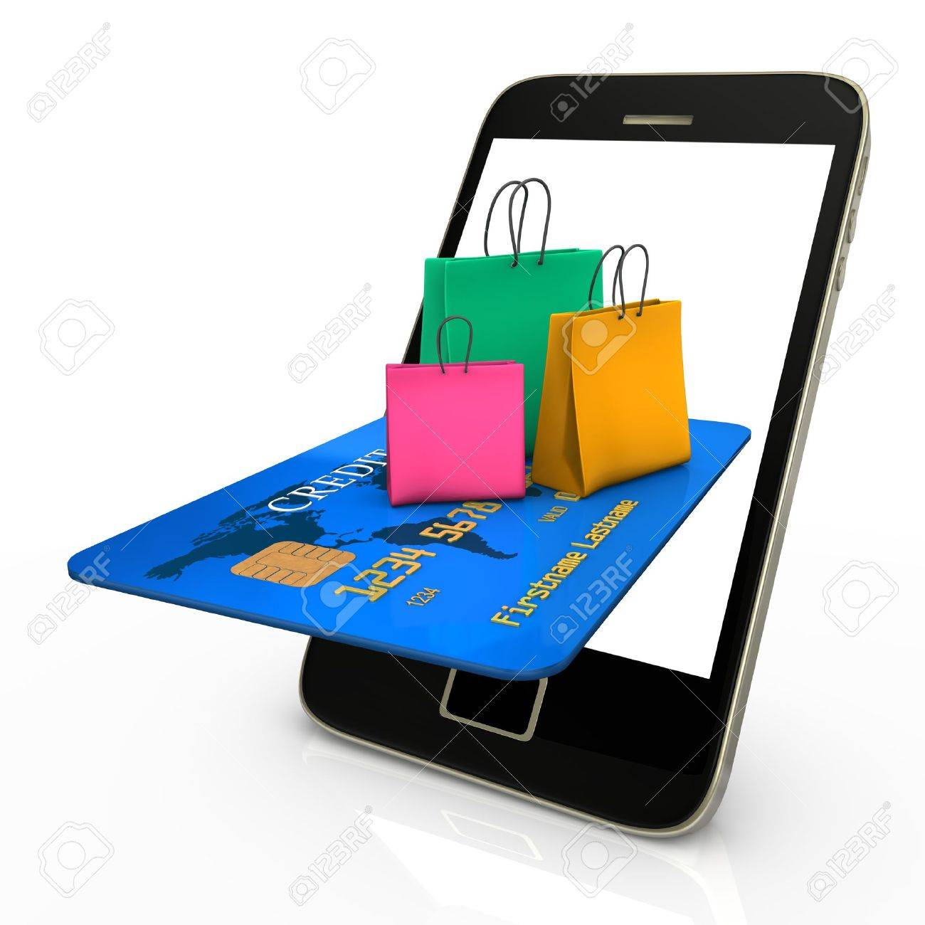 Smartphone with credit card and colorful shopping bags Stock Photo - 18703014