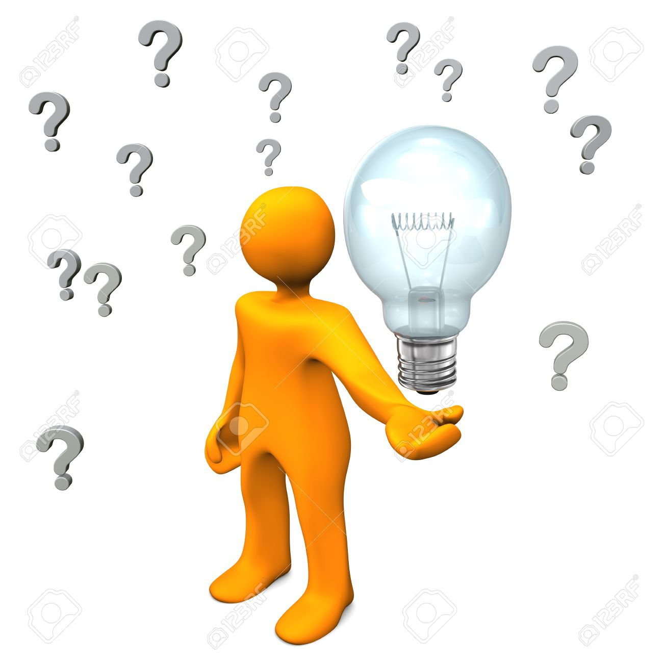 Orange cartoon character with question marks and big bulb. Stock Photo - 18842857