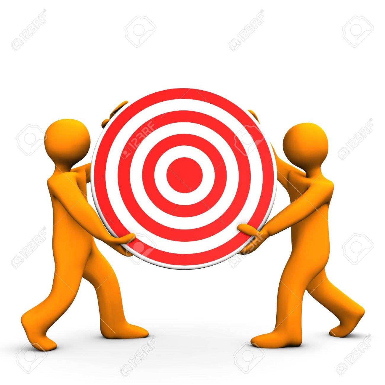Two orange cartoon characters with red target. Stock Photo - 18987446