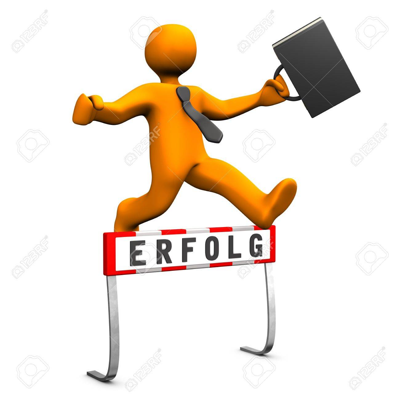 Orange businessman jump with black case and tie and is successful. German text erfolg, translate success. Stock Photo - 19333702