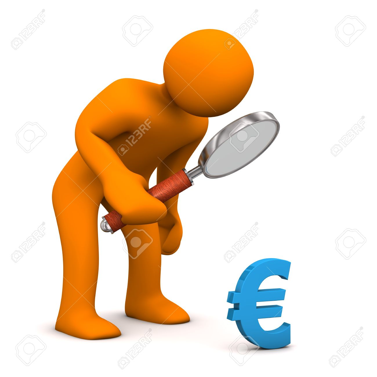 Orange Cartoon Character With Loupe And Blue Symbol Of Euro Stock