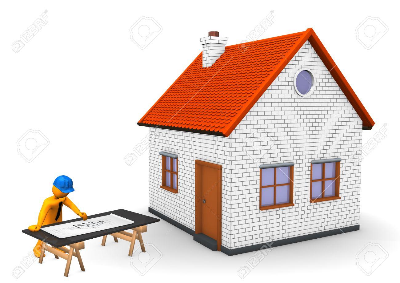 Personnage De Dessin Animé Orange Avec Le Plan De Casque Maison Et Construction Bleu Fond Blanc