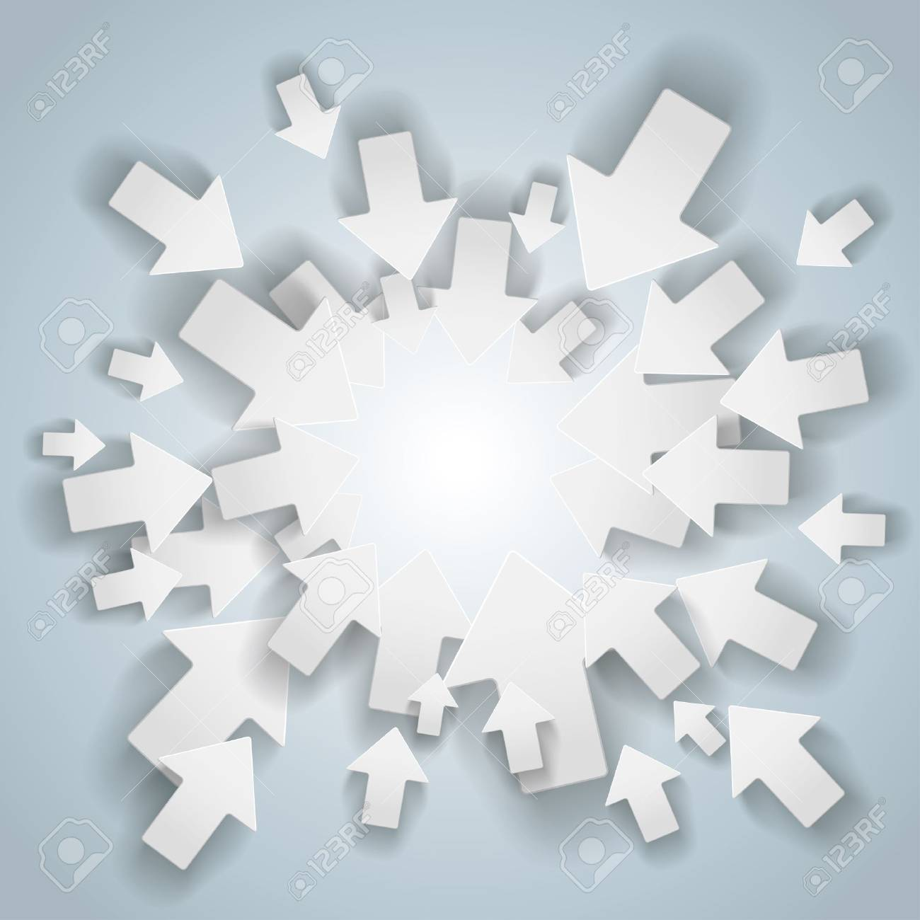 White arrows with center on the grey background. Stock Vector - 21076709