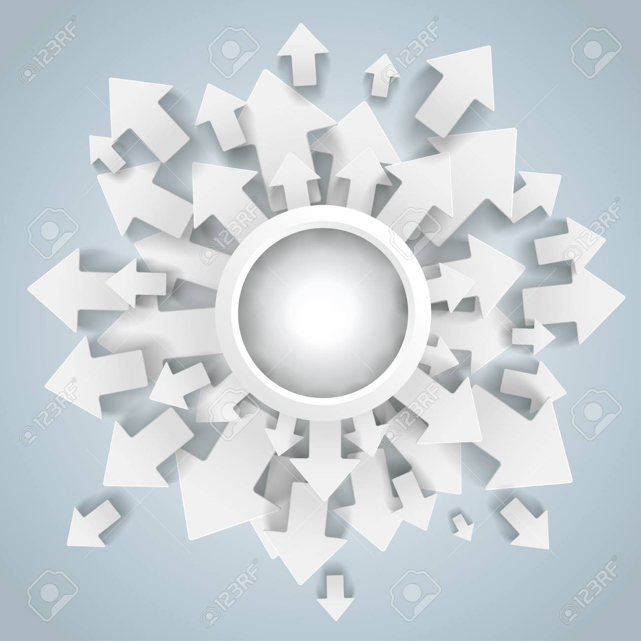 White arrows with center on the grey background. Stock Vector - 21076708