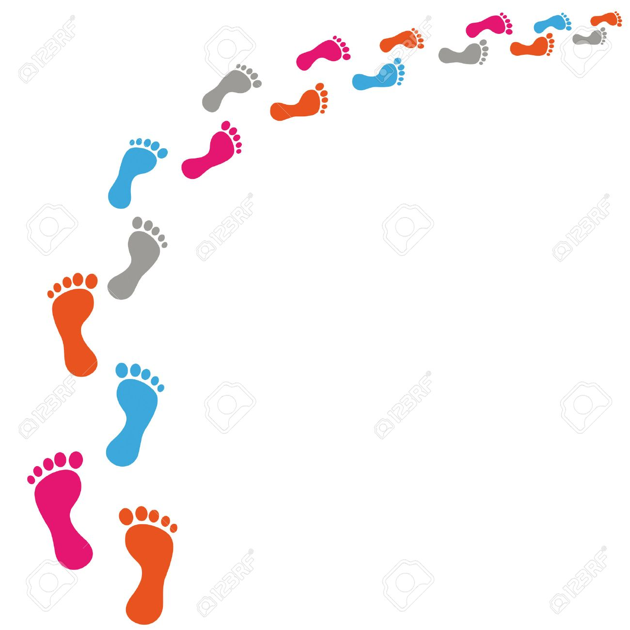 Colored footprints on the white background. Eps 10 vector file. - 26132418