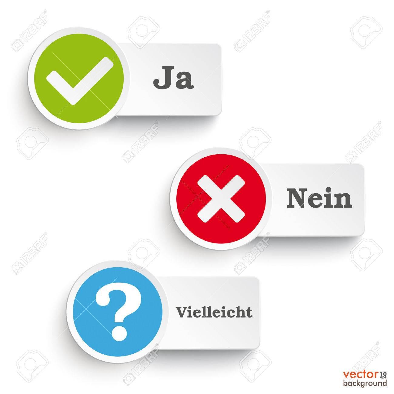 German Text Ja Nein Vielleicht Translate Yes No Maybe