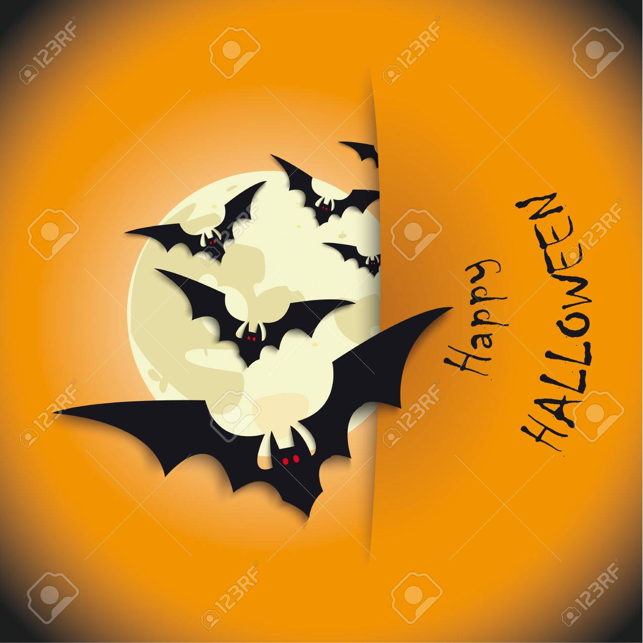 Halloween Flyer Background Design With Bats And Moon. Royalty Free ...