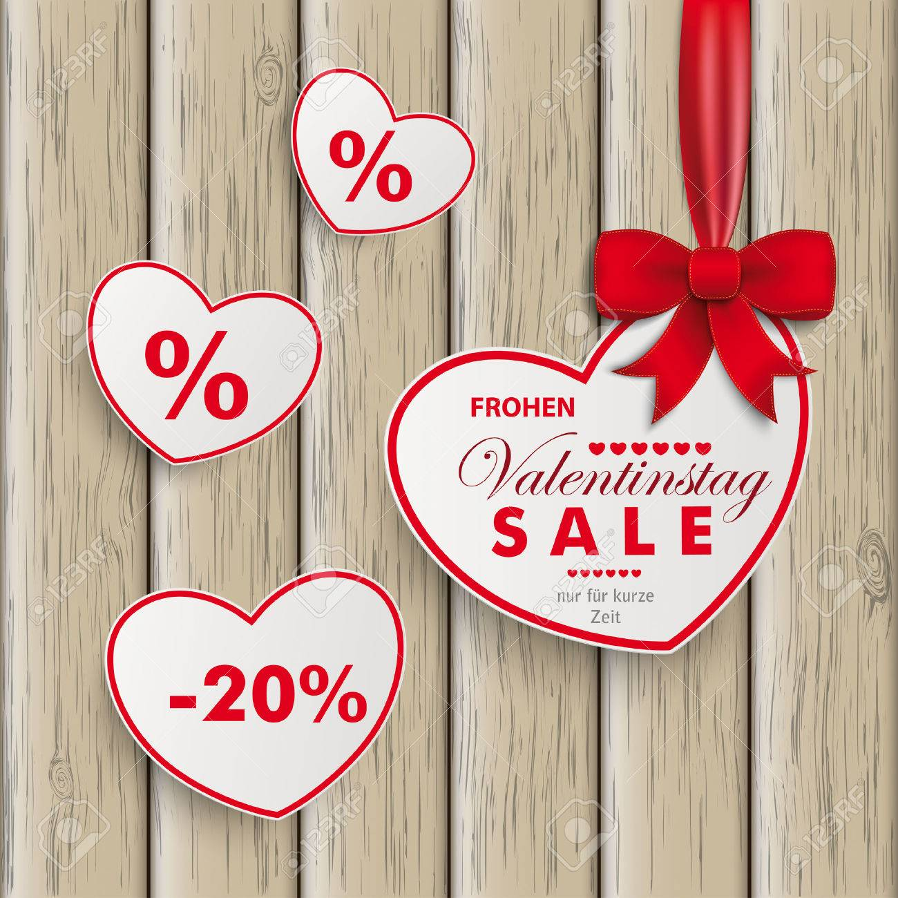 Elegant White Paper Hearts With Red Ribbon On The White Background. German Text