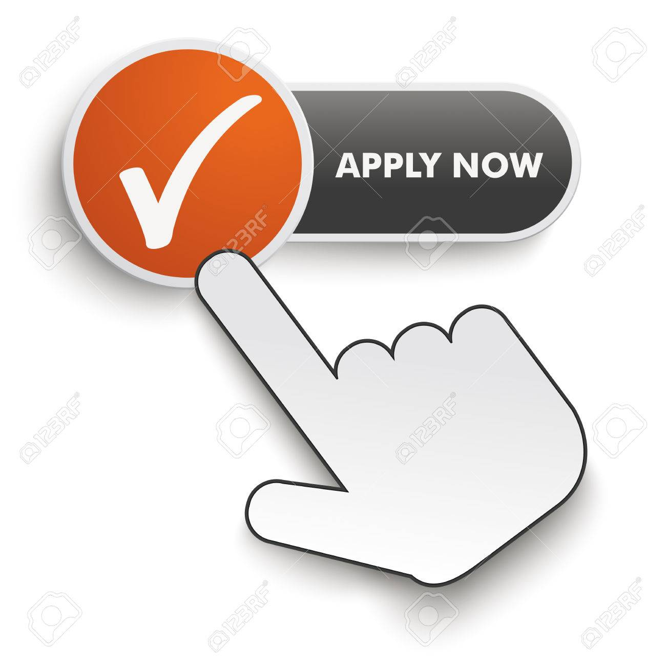 Apply Now button with hand cursor on the white background. Eps 10 vector file. - 36476048