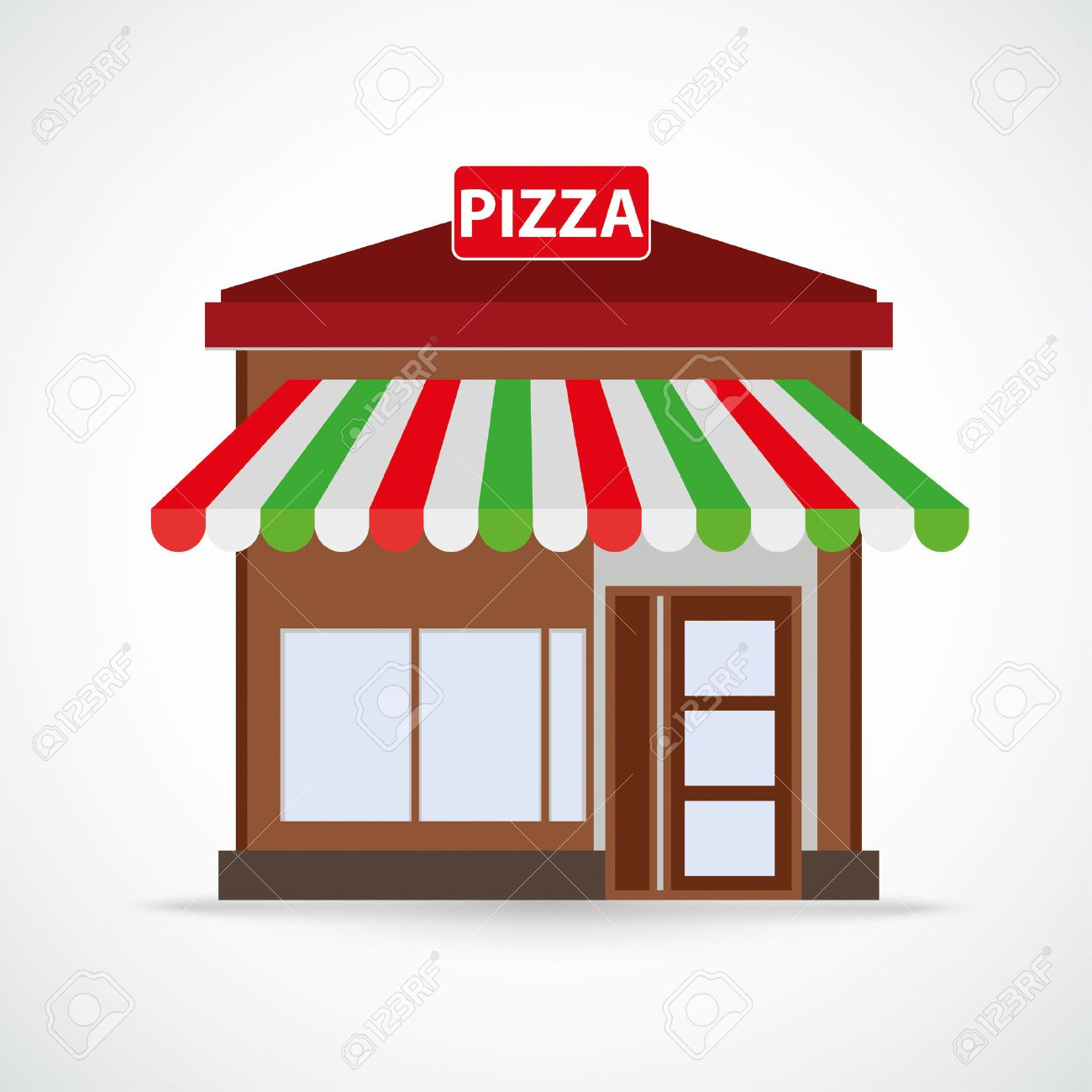 For restaurant pictures graphics illustrations clipart photos - Pizza Restaurant Building On The Gray Background Eps 10 Vector File Stock Vector