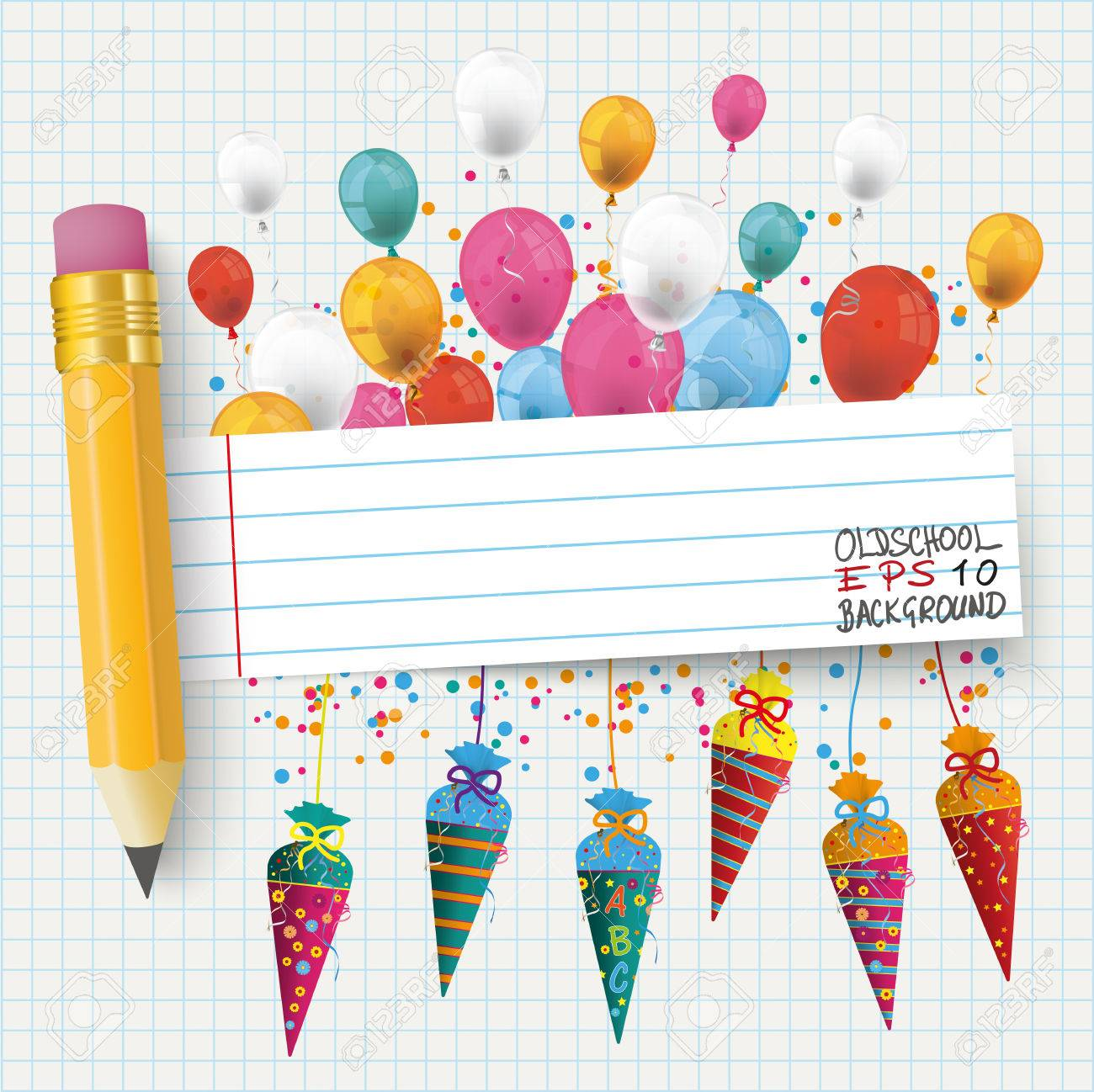checked school paper with colored balloons candy cones pencil and striped banner eps