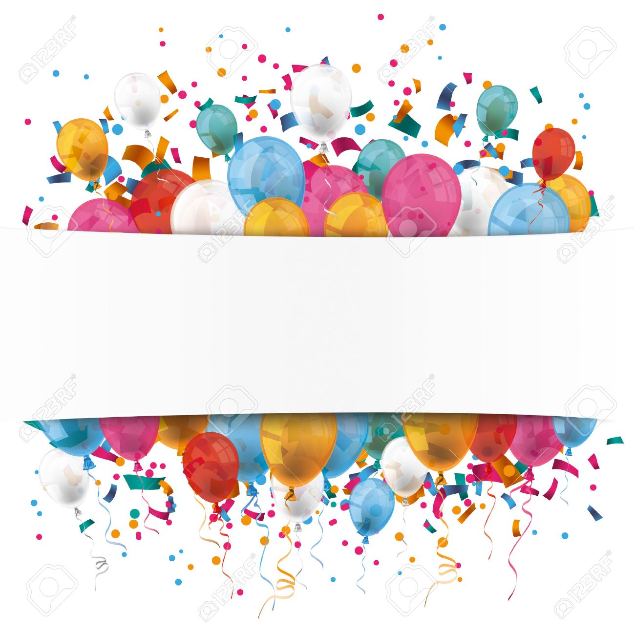 White paper banner, colored balloons and colored confetti. Eps 10 vector file. - 53471908