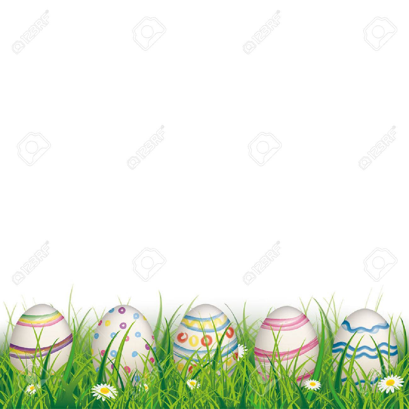 Green grass with colored easter eggs on the white background. Eps 10 vector file. - 53970604